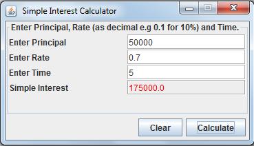 Java Simple Interest Calculator